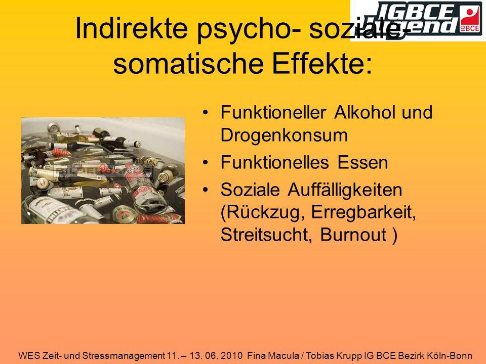 Indirekte psycho- soziale- somatische Effekte: