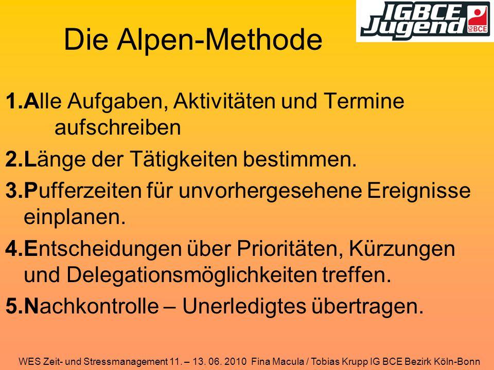 Die Alpen-Methode Alle Aufgaben, Aktivitäten und Termine aufschreiben