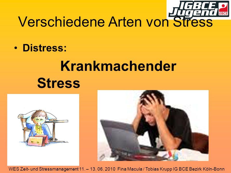Verschiedene Arten von Stress