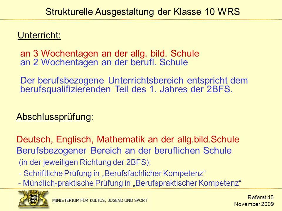 Strukturelle Ausgestaltung der Klasse 10 WRS