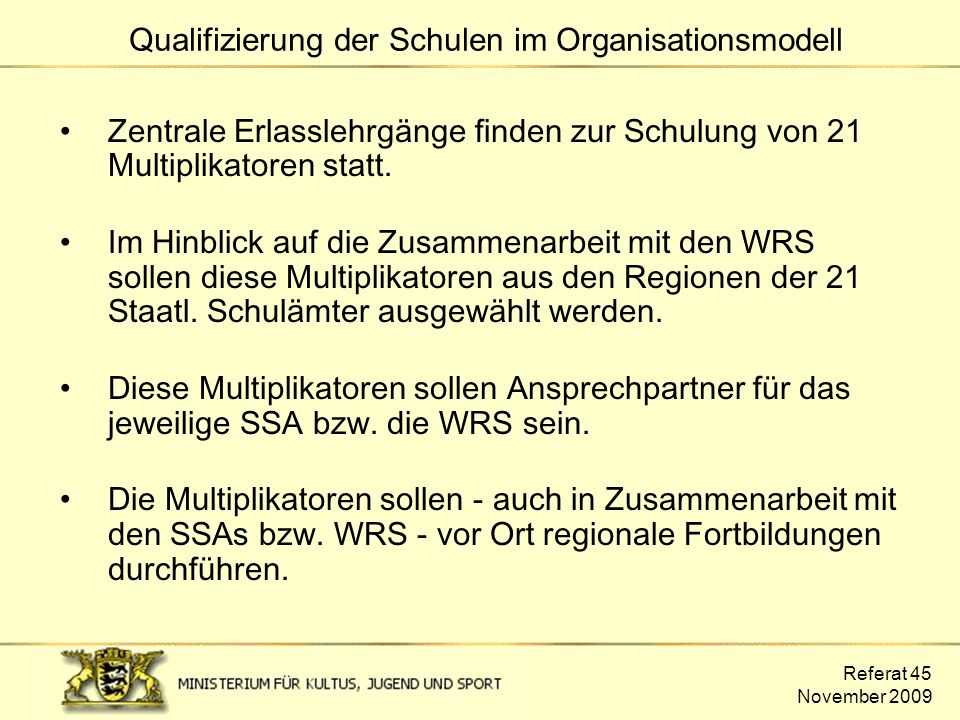 Qualifizierung der Schulen im Organisationsmodell