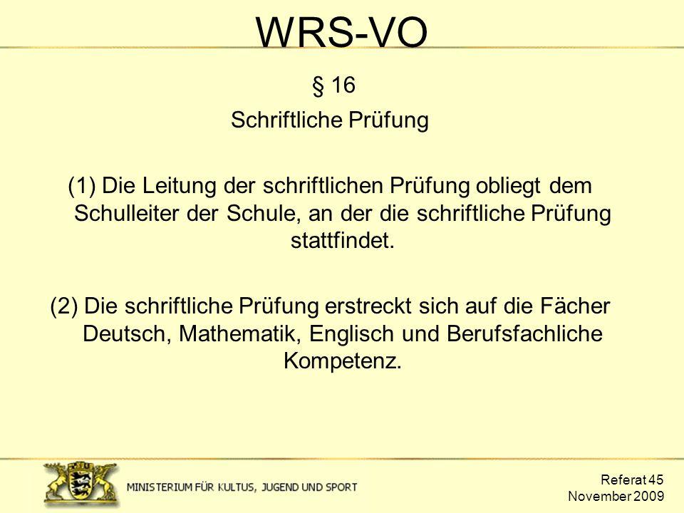 WRS-VO § 16 Schriftliche Prüfung