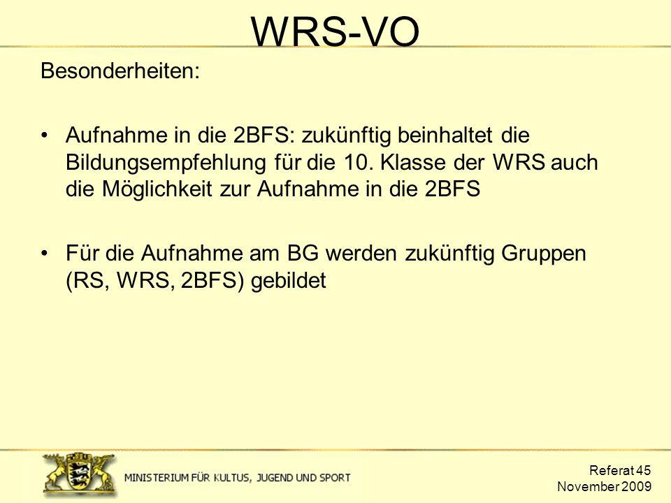 WRS-VO Besonderheiten: