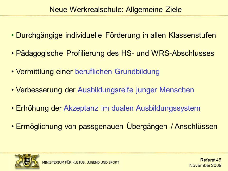 Neue Werkrealschule: Allgemeine Ziele