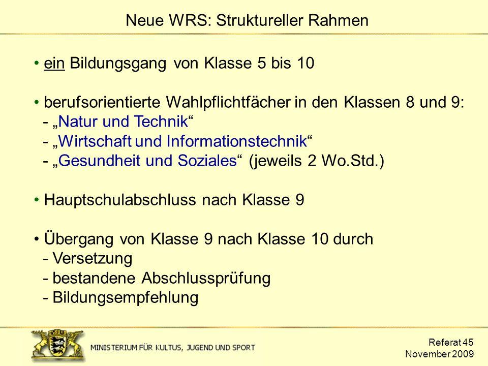 Neue WRS: Struktureller Rahmen