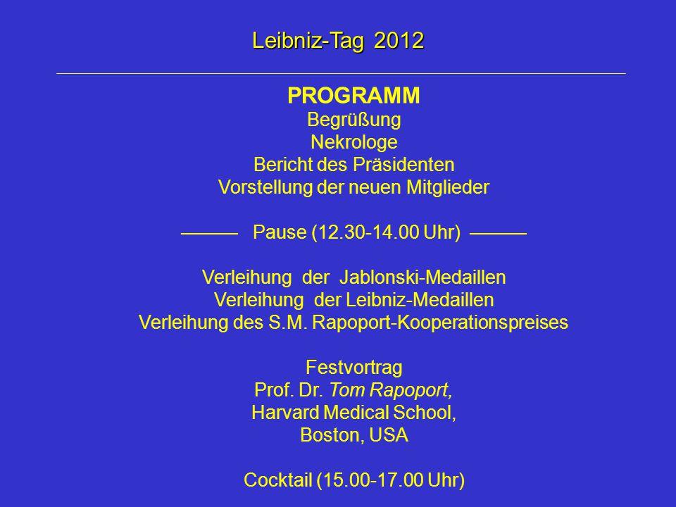 Leibniz-Tag 2012 PROGRAMM Begrüßung Nekrologe Bericht des Präsidenten