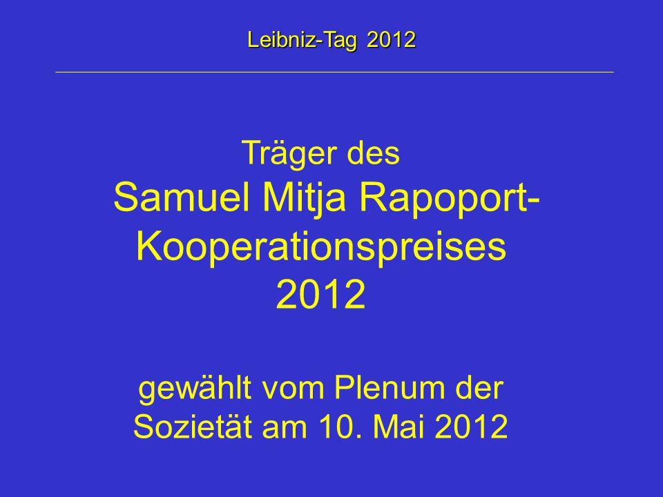 Samuel Mitja Rapoport-Kooperationspreises 2012