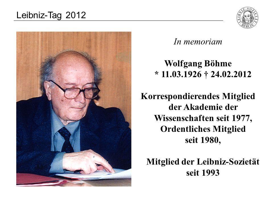Uwe-Jens Heuer * 11.07.1927 † 22.10.2011 Leibniz-Tag 2012 In memoriam