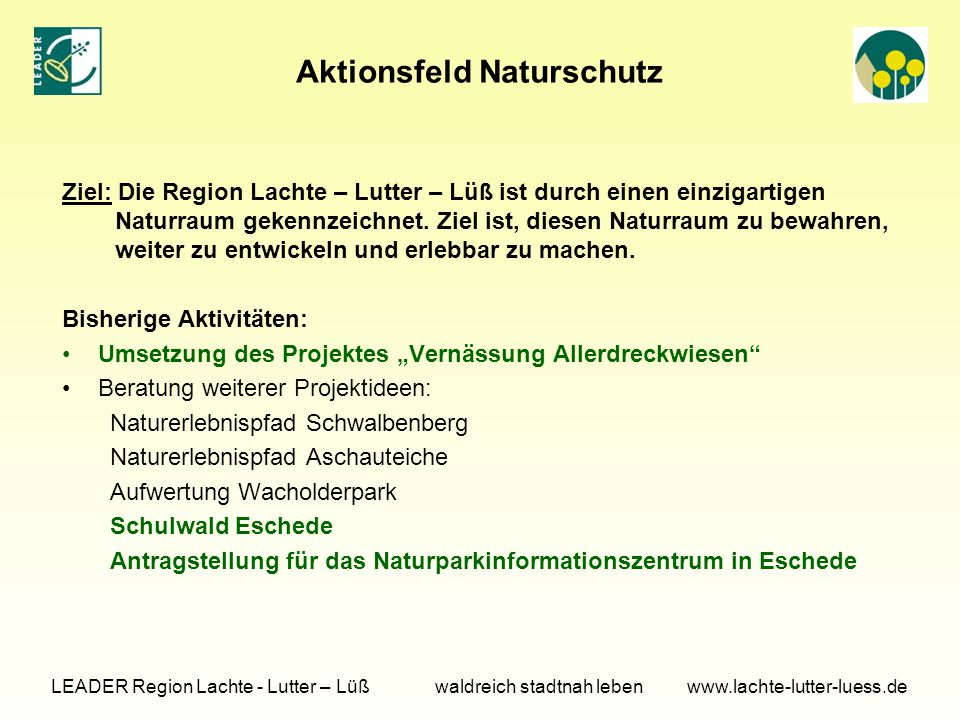 Aktionsfeld Naturschutz