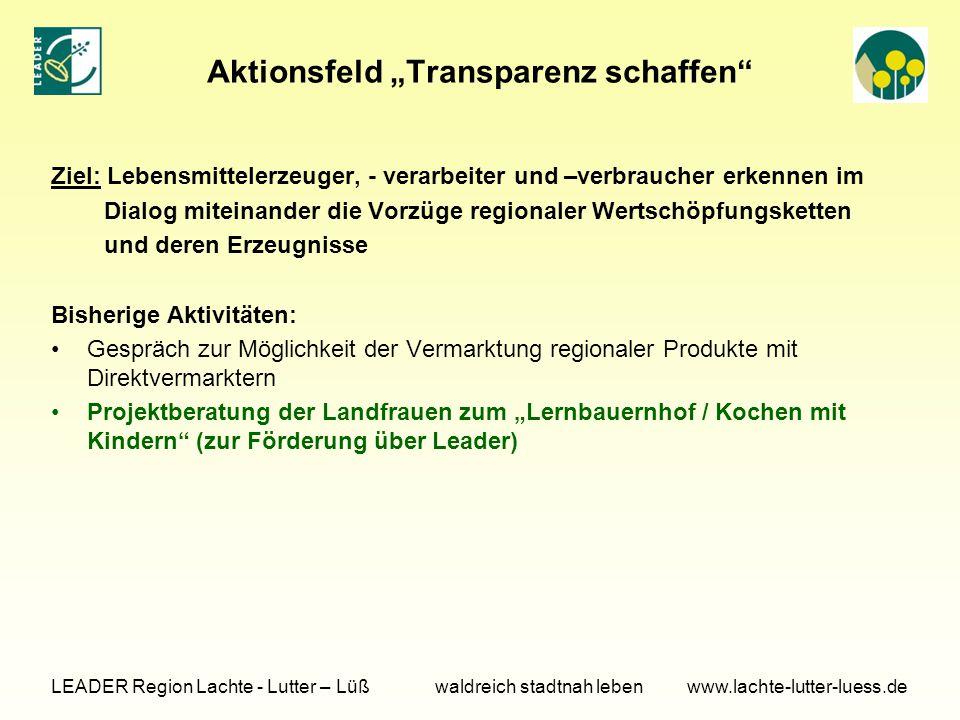 """Aktionsfeld """"Transparenz schaffen"""