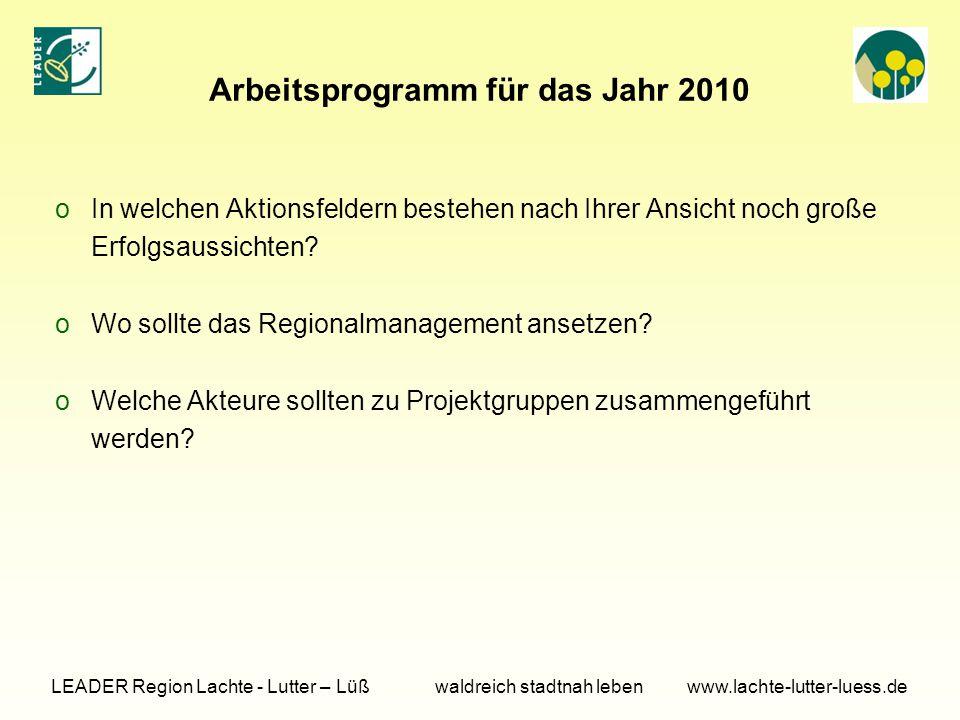 Arbeitsprogramm für das Jahr 2010