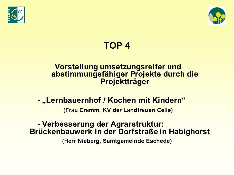 """TOP 4 - """"Lernbauernhof / Kochen mit Kindern"""