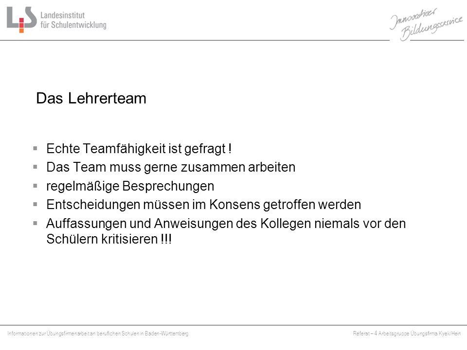 Das Lehrerteam Echte Teamfähigkeit ist gefragt !
