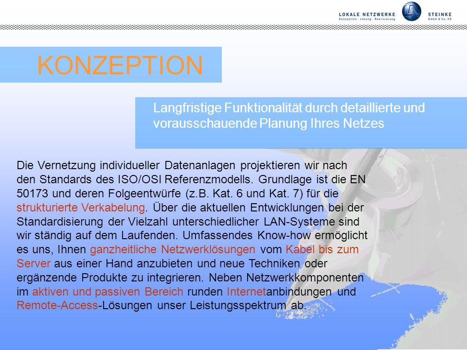 KONZEPTION Langfristige Funktionalität durch detaillierte und vorausschauende Planung Ihres Netzes.