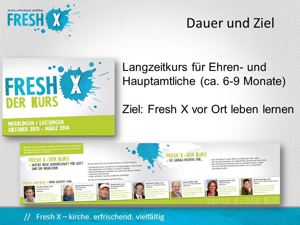 Dauer und Ziel Langzeitkurs für Ehren- und Hauptamtliche (ca. 6-9 Monate) Ziel: Fresh X vor Ort leben lernen.