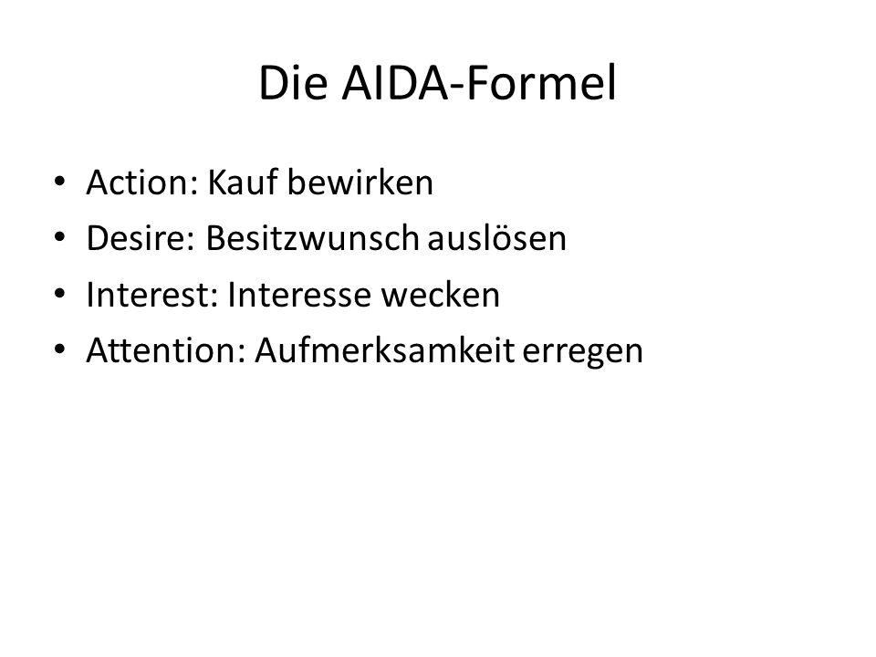 Die AIDA-Formel Action: Kauf bewirken Desire: Besitzwunsch auslösen