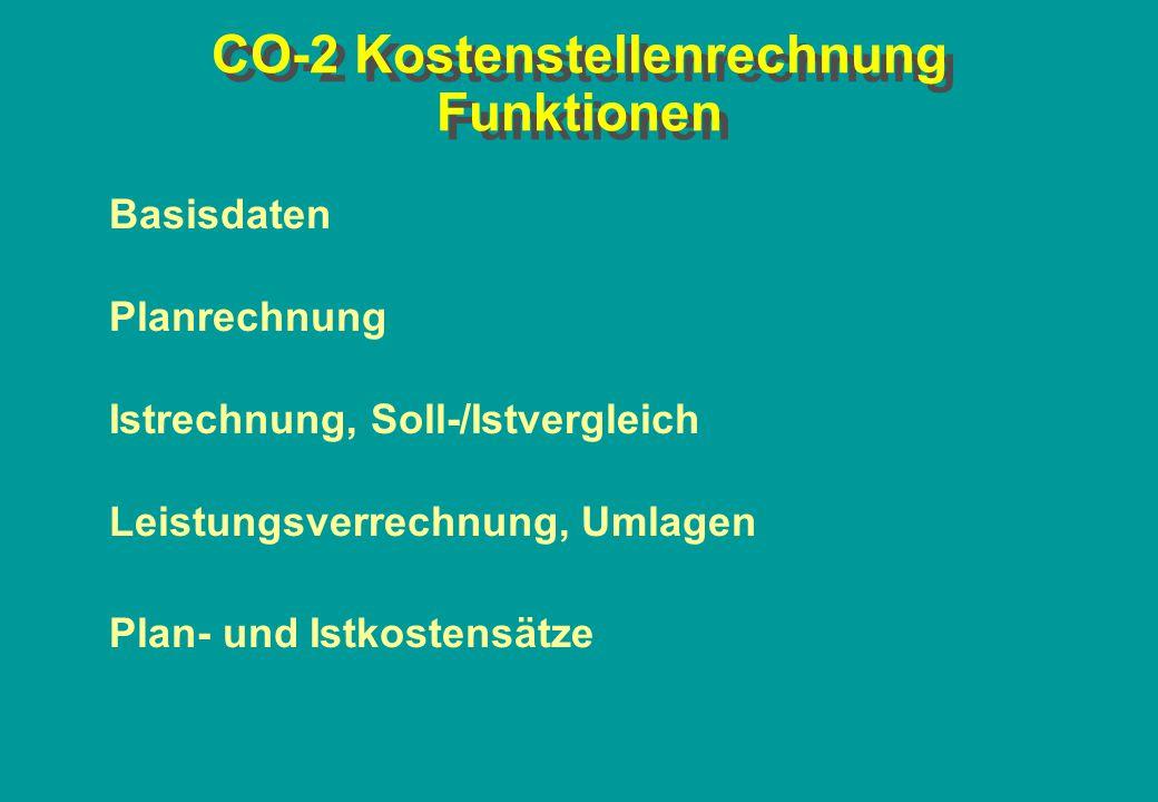CO-2 Kostenstellenrechnung Funktionen