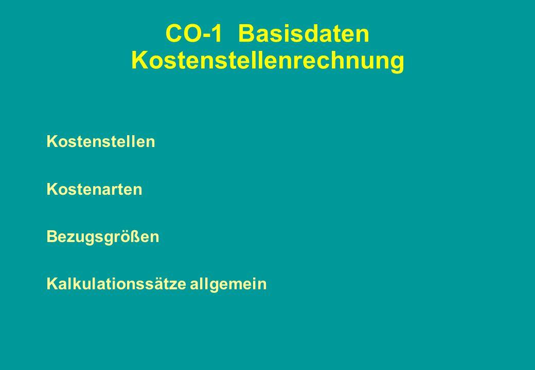 CO-1 Basisdaten Kostenstellenrechnung