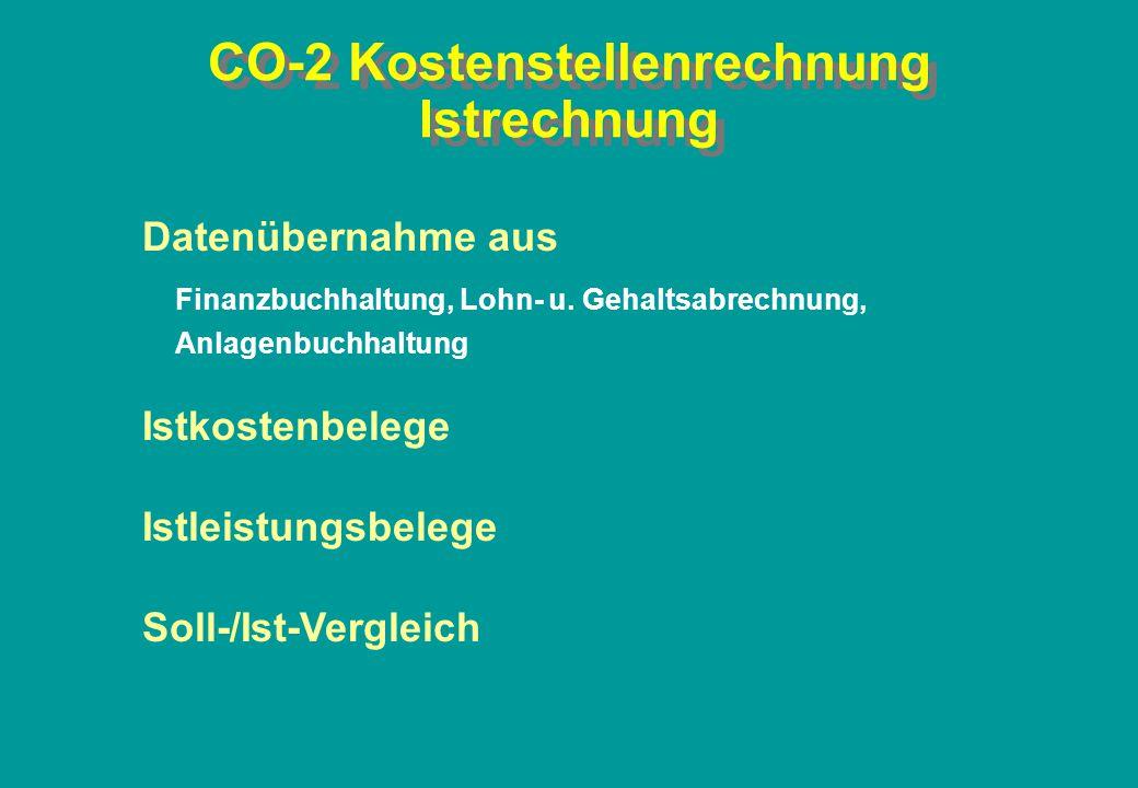CO-2 Kostenstellenrechnung Istrechnung