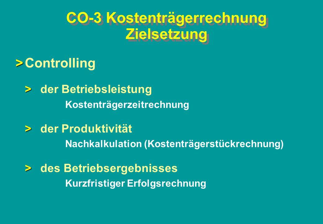CO-3 Kostenträgerrechnung Zielsetzung