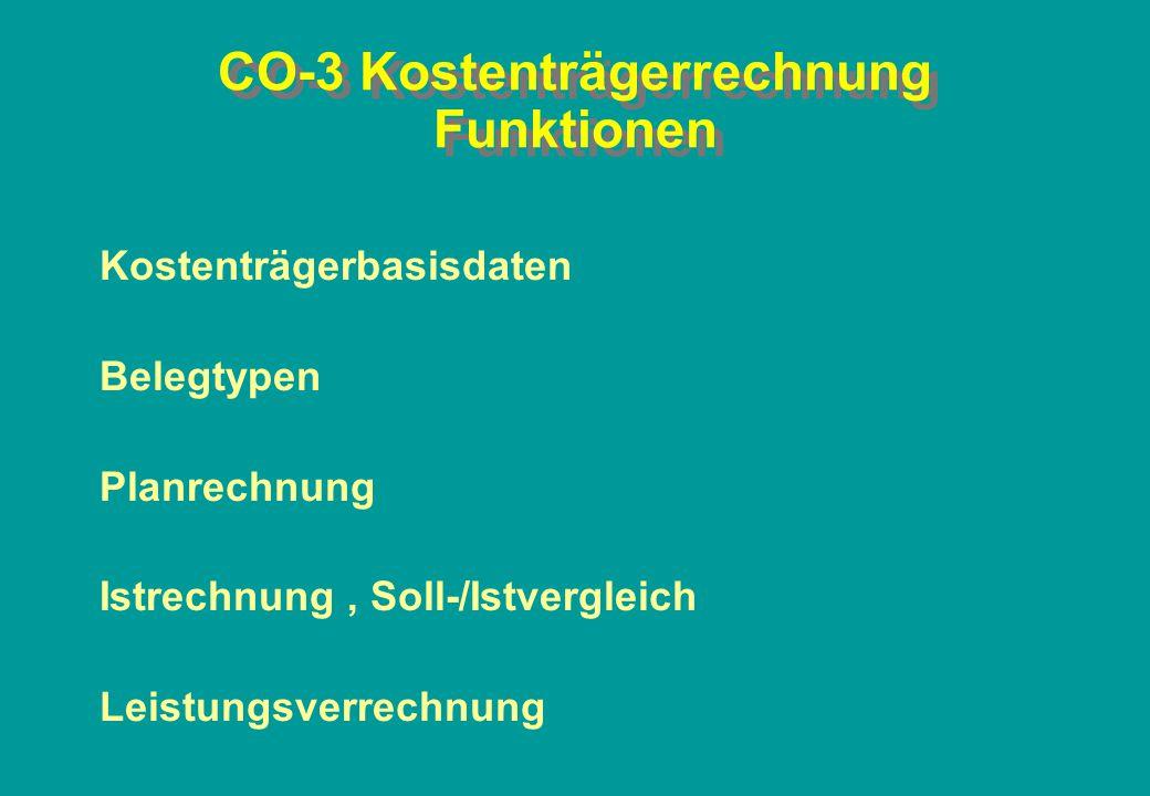 CO-3 Kostenträgerrechnung Funktionen