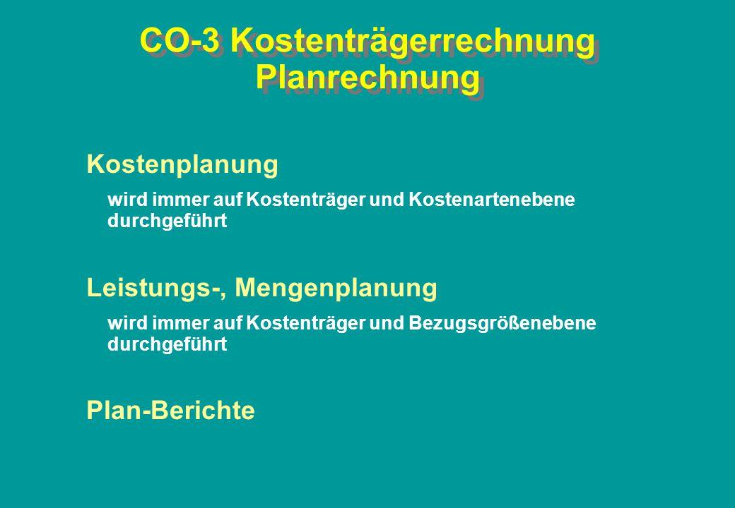 CO-3 Kostenträgerrechnung Planrechnung