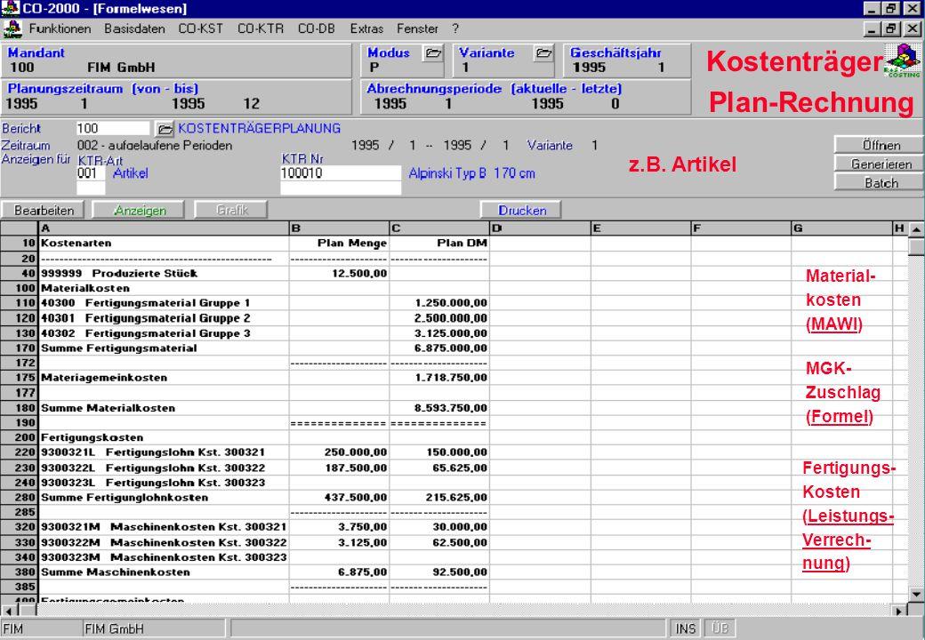Kostenträger Plan-Rechnung z.B. Artikel Material- kosten (MAWI) MGK-