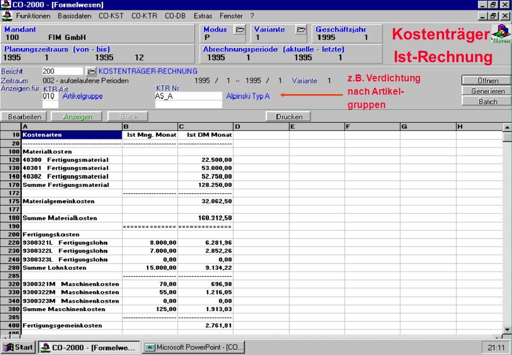 Kostenträger Ist-Rechnung