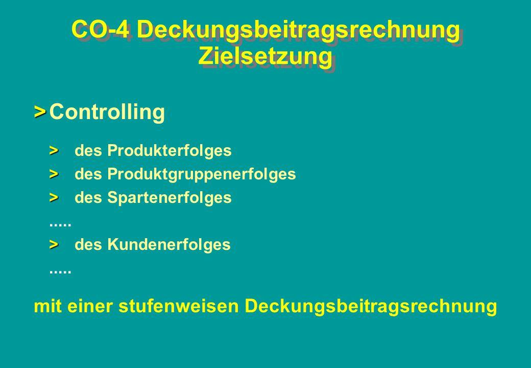 CO-4 Deckungsbeitragsrechnung Zielsetzung