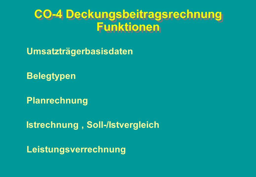 CO-4 Deckungsbeitragsrechnung Funktionen