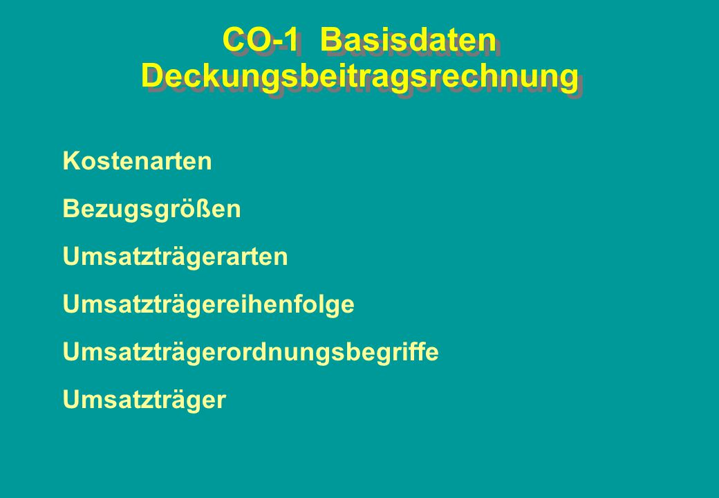 CO-1 Basisdaten Deckungsbeitragsrechnung