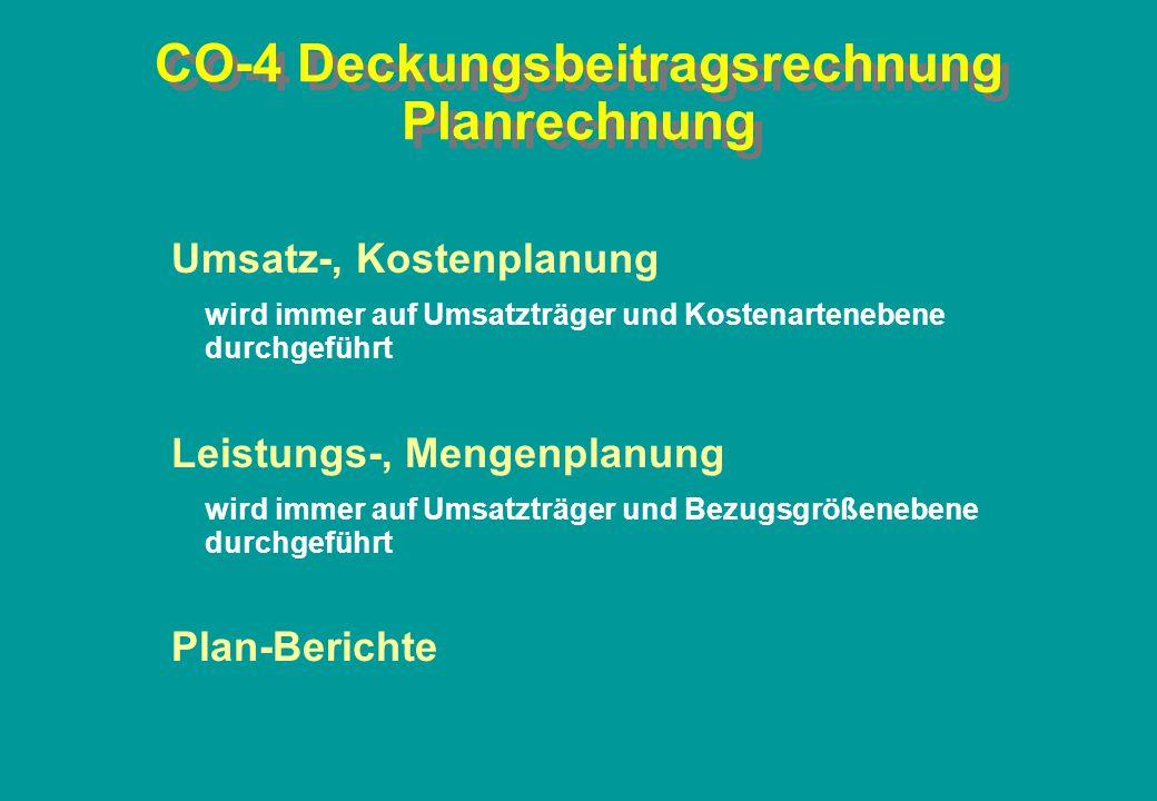 CO-4 Deckungsbeitragsrechnung Planrechnung