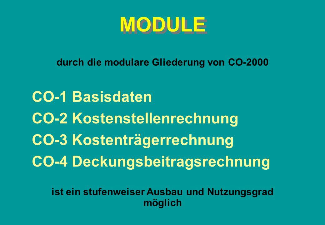 MODULE CO-1 Basisdaten CO-2 Kostenstellenrechnung