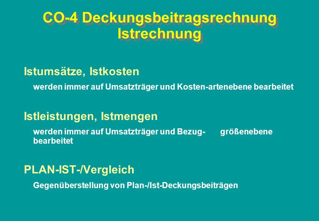 CO-4 Deckungsbeitragsrechnung Istrechnung