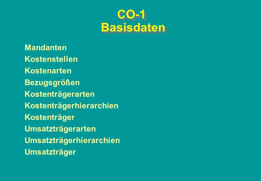 CO-1 Basisdaten Mandanten Kostenstellen Kostenarten Bezugsgrößen