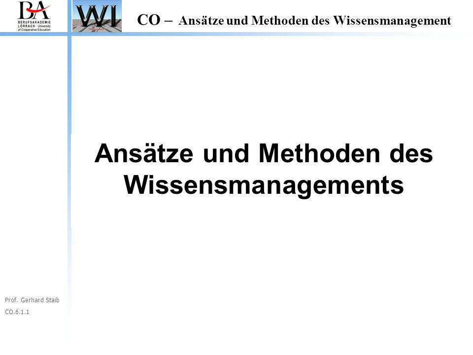 Ansätze und Methoden des Wissensmanagements