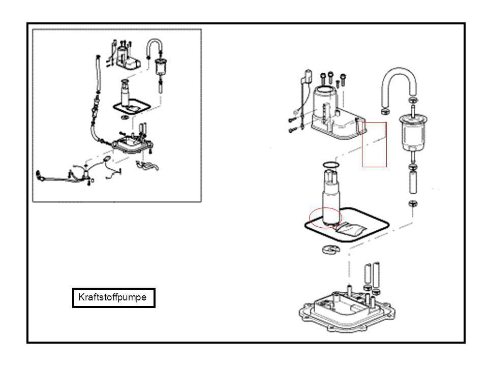 Das Filtersieb am Kraftstoffpumpenzulauf ist bei auftretenden Störung-en zu prüfen.