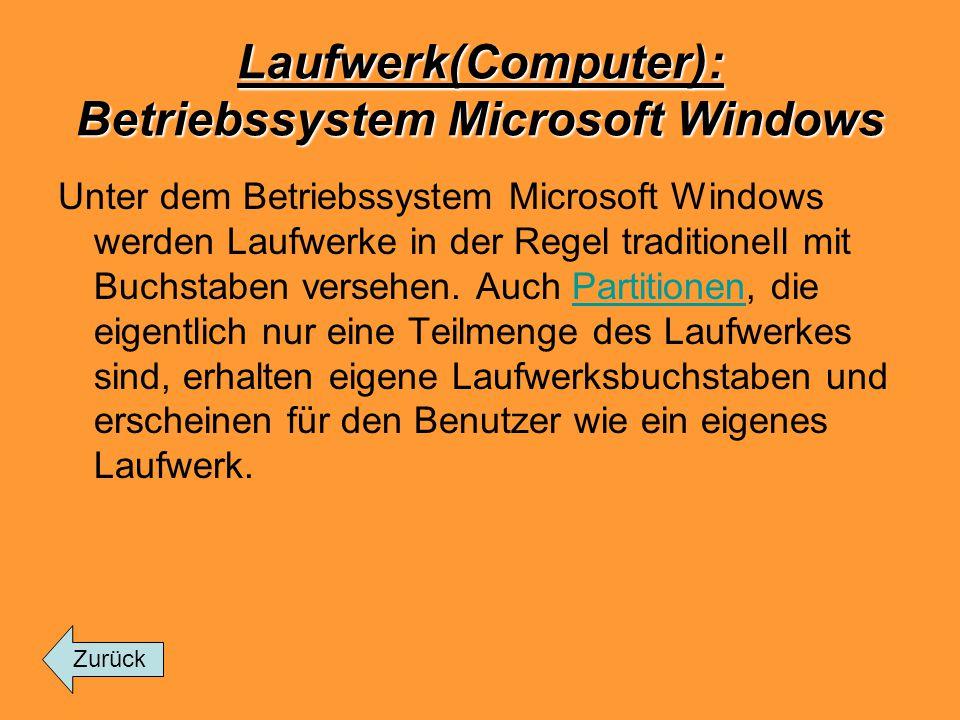 Laufwerk(Computer): Betriebssystem Microsoft Windows