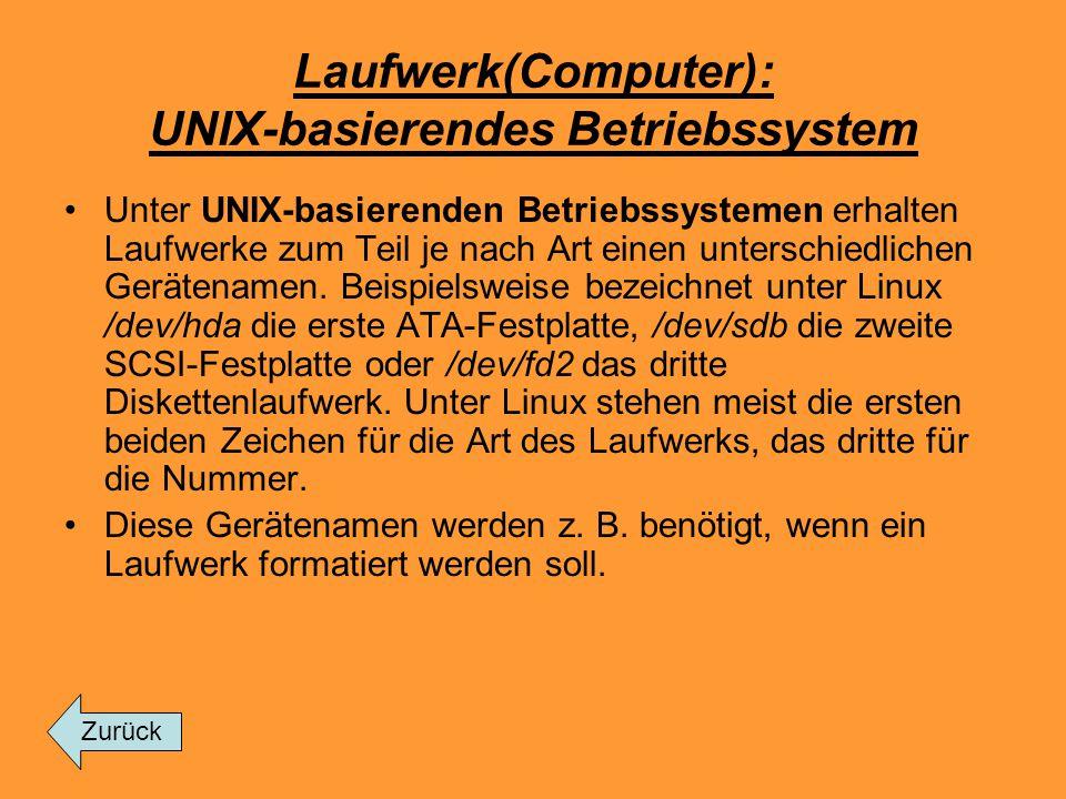 Laufwerk(Computer): UNIX-basierendes Betriebssystem