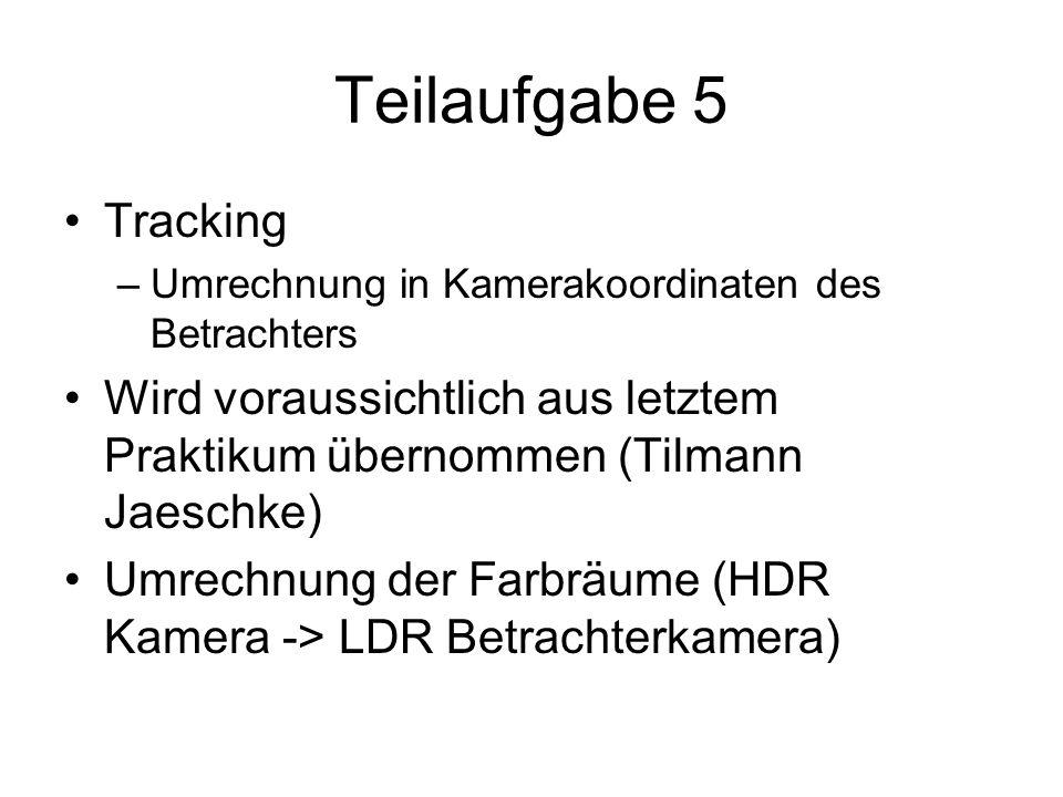 Teilaufgabe 5 Tracking. Umrechnung in Kamerakoordinaten des Betrachters. Wird voraussichtlich aus letztem Praktikum übernommen (Tilmann Jaeschke)