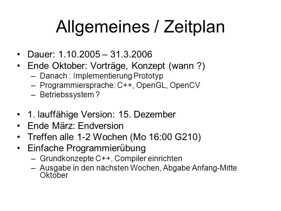 Allgemeines / Zeitplan