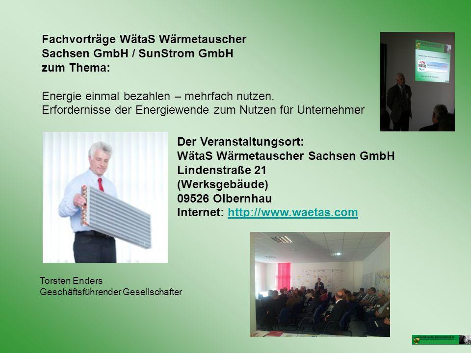 Fachvorträge WätaS Wärmetauscher Sachsen GmbH / SunStrom GmbH