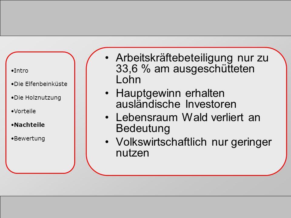Arbeitskräftebeteiligung nur zu 33,6 % am ausgeschütteten Lohn