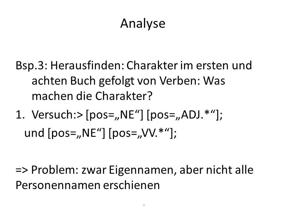 Analyse Bsp.3: Herausfinden: Charakter im ersten und achten Buch gefolgt von Verben: Was machen die Charakter