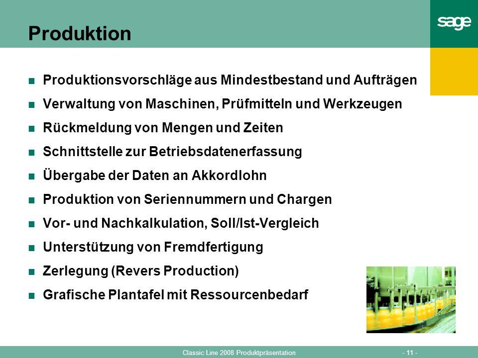 Produktion Produktionsvorschläge aus Mindestbestand und Aufträgen