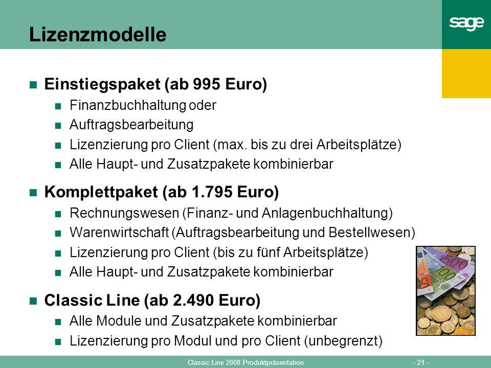 Lizenzmodelle Einstiegspaket (ab 995 Euro)