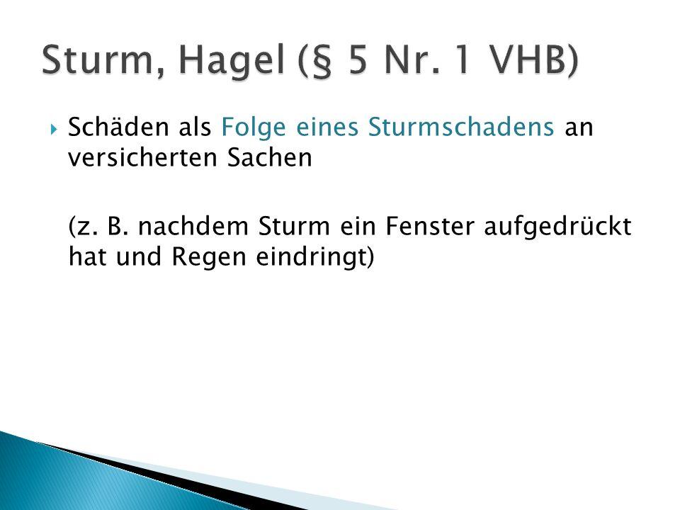 Sturm, Hagel (§ 5 Nr. 1 VHB) Schäden als Folge eines Sturmschadens an versicherten Sachen.