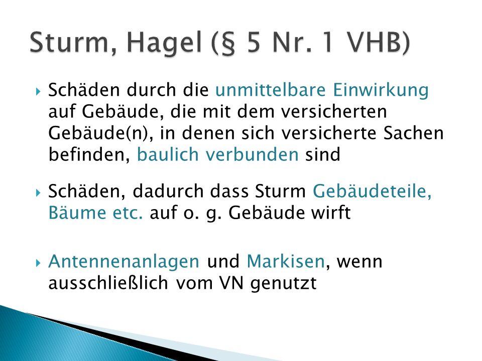 Sturm, Hagel (§ 5 Nr. 1 VHB)
