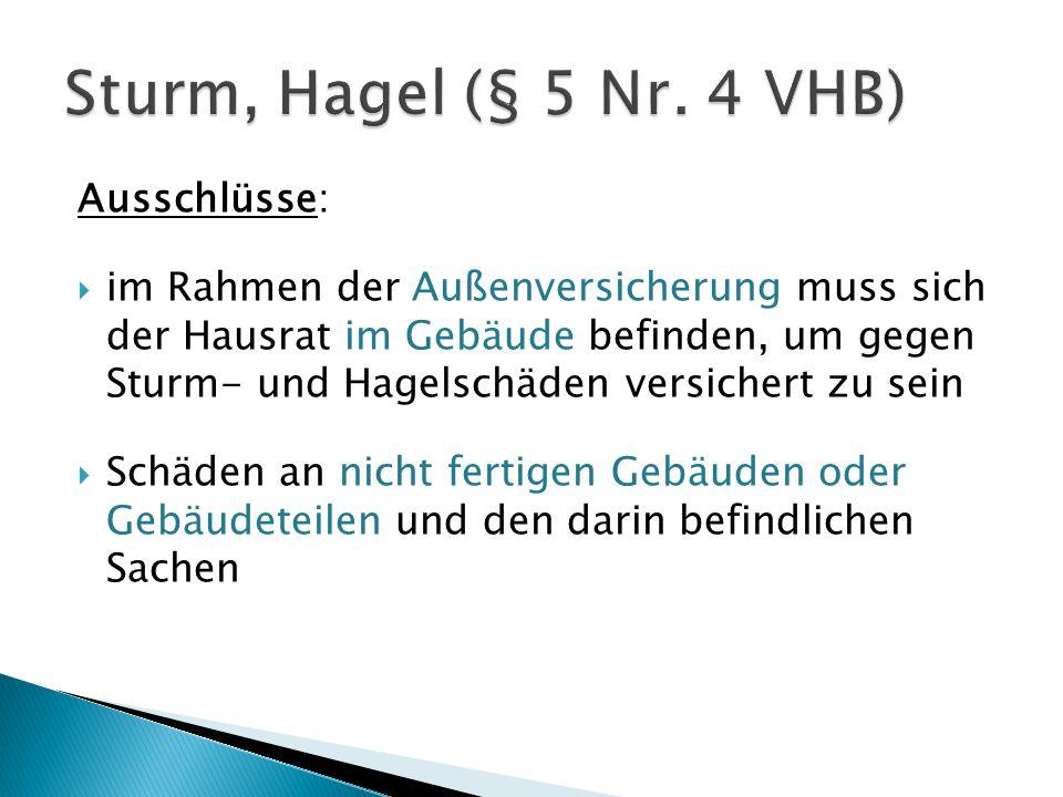 Sturm, Hagel (§ 5 Nr. 4 VHB) Ausschlüsse: