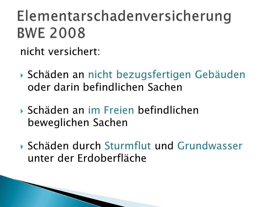 Elementarschadenversicherung BWE 2008
